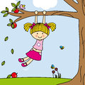 Girl playing on a tree swing Royalty Free Stock Photography
