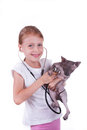 Girl playing a veterinarian with cat shpinx stethoscope isolated on white Royalty Free Stock Photo