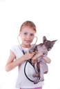 Girl playing a veterinarian with cat shpinx stethoscope isolated on white Royalty Free Stock Image