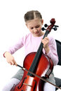 Girl playing on violoncello Royalty Free Stock Images