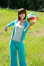 Girl playing volleyball in  summer park Royalty Free Stock Photo