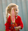 Girl plays in badminton Royalty Free Stock Image