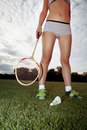 Girl plays badminton part of who on grass Stock Photos