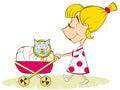 Chica juega en madre