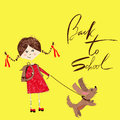 Girl plays with a puppy handdrawn inspiration back to school boy the bag lettering Stock Photos