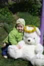 Girl and plush bear Stock Photography