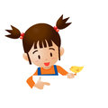 Girl point eps cartoon isolated Stock Image