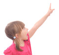 Girl pointing preschool isolated on white background Stock Image