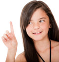 Girl pointing up Stock Photos