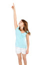 Girl pointing up Royalty Free Stock Images