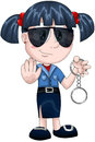 Girl policewoman handcuffs character cartoon style nice young dressed as a policeman holding vector illustration done in on a Stock Photo