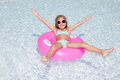 Girl in pool happy little vacations Royalty Free Stock Photos
