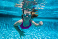Girl Pool Underwater Stock Photo