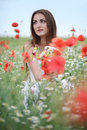 Girl in poppies field Royalty Free Stock Image