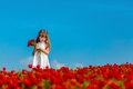 Girl with poppies Royalty Free Stock Photo