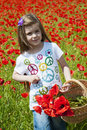 Girl on a poppy field Stock Image