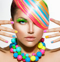 Girl portrait with colorful makeup beauty hair and accessories Royalty Free Stock Photo