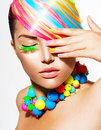 Girl portrait with colorful makeup beauty hair and accessories Royalty Free Stock Image