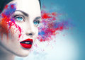 Girl portrait with colorful powder makeup Royalty Free Stock Photo