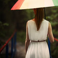 Girl portrait with colorful umbrella beautiful Royalty Free Stock Images