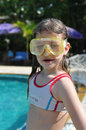 Girl portrait in diving mask looking at camera Stock Image
