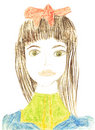 Girl portrait original kid's drawing Royalty Free Stock Images