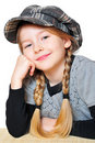 Girl portrait pigtails hat Royalty Free Stock Images