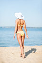 Girl posing on the beach summer holidays vacation and concept in bikini Royalty Free Stock Photos