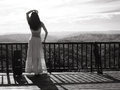 Girl posing in national park beautiful young woman white clothes standing on the observation deck and looking into the distance Royalty Free Stock Photos
