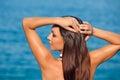 Girl posing on sea background travel Stock Image