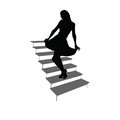 Girl posing on the stairs black silhouette