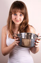 Girl and a pot. Stock Photo