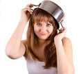 Girl and a pot is holding her Stock Photography