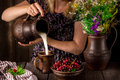 The girl pouring milk from a jug into a cup and a bowl with berries on a wooden table jug with flowers dark background selective Royalty Free Stock Photo