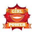 Girl power badge, logo or icon with lips and chili