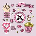 Girl power badges set. Colorful pins with inspirational girly quotes. Feminist stickers set.