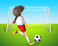 A girl practicing soccer illustration of Royalty Free Stock Photography