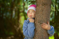Girl-preschooler hands clasped tree Stock Images