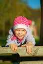 Girl-preschooler laughs and plays Royalty Free Stock Image