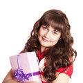Girl with present box. Royalty Free Stock Photos