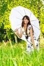 Girl protection sun umbrella under Στοκ φωτογραφία με δικαίωμα ελεύθερης χρήσης