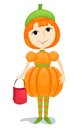 Girl pumpkin Stock Photography