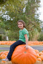 Girl in a Pumpkin Patch Stock Photo