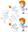Girl and pup little playing a ball with her three versions of the illustration Stock Photos