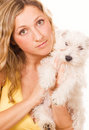 Girl with a puppy Royalty Free Stock Images