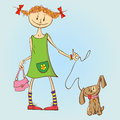 Girl with puppy little a handbag walks his Royalty Free Stock Images