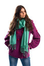 Girl in purple coat. Royalty Free Stock Photo