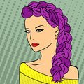 Girl with purple plait