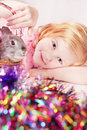 Girl with rabbit Royalty Free Stock Photography