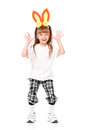 Girl with rabbit ears funny little in white t shirt pink isolated on white background Stock Image